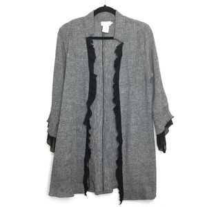 Soft Surroundings Linen Cardigan Grey Size Medium